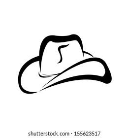 cowboy hat silhouette . vector illustration.