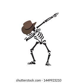 Cowboy Hat Skeleton funny character doing dab - VECTOR