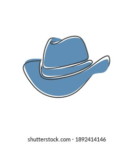 Cowboy hat vector icon in cartoon style isolated on white background.