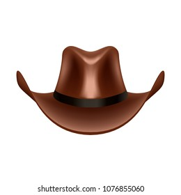 Cowboy hat vector illustration. Stetson realistic icon. 3783b146aca2