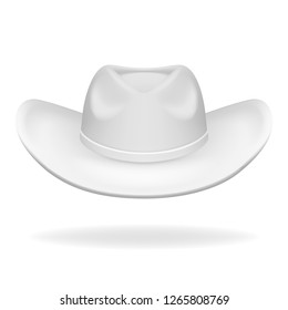 Cowboy hat white 3d isolated realistic icon design vector illustration