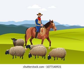 Cowboy herding his flock of sheep. Vector illustration