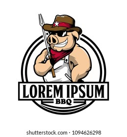 Cowboy Hog or Pig Cartoon with fork Vector for BBQ Logo Template