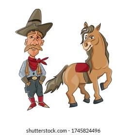 Cowboy with a horse cartoon