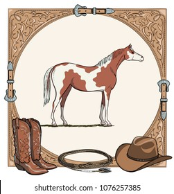Cowboy horse equine riding tack tool in the western leather belt frame. Western boot, hat, lasso rope and pinto or piebald horse. Hand drawing vector cartoon background.