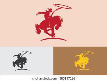 Cowboy horse flat logo vector