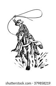 Cowboy and horse. Hand drawing illustration.