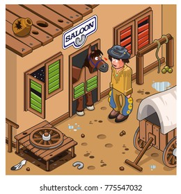 Cowboy and horse make friends in front of a saloon. Wild West scene (isometric view cartoon)