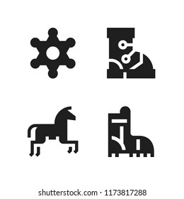 cowboy icon. 4 cowboy vector icons set. horseriding, boot and sheriff icons for web and design about cowboy theme