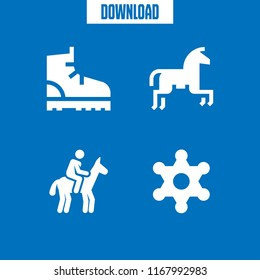cowboy icon. 4 cowboy vector set. sheriff, horseriding and boot icons for web and design about cowboy theme