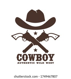 Cowboy icon with hat and crossed guns. Western tattoo. Wild west stencil emblem. Vector illustration.
