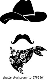 Cowboy icon. Retro Hat, mustache and scarf