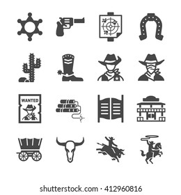 Cowboy icons. Included the icons as west, gun, horse rider, chief, cactus, wanted and more.