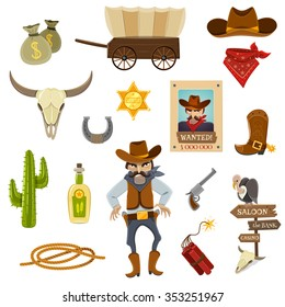 Cowboy icons set with dynamite skull and horseshoe cartoon isolated vector illustration