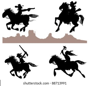 Cowboy and Indian silhouettes.