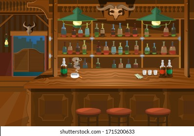 Cowboy interior wild west atmosphere wooden bar vector illustration. Shelves full of bottles with alcohol cartoon design. Cigarette in ashtray and glasses, banknote on bar counter