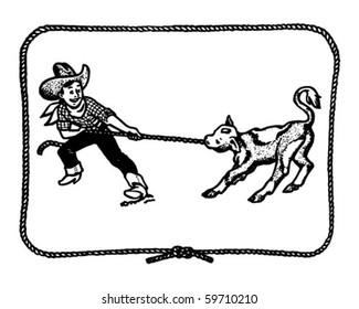 Cowboy Kid With Rope Border - Retro Clip Art