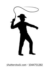 Cowboy with lash silhouette vector