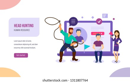 Cowboy with lasso, as concept of attracting labor, human resources on job. Head hunting, active personnel search, recruitment, study of resume, hr management, teamwork. Vector illustration.