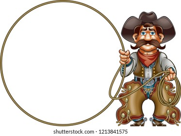 cowboy with lasso doing rope trick
