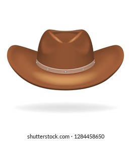 Cowboy leather hat isolated realistic 3d icon design vector illustration