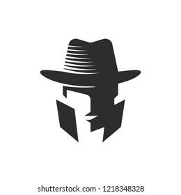 Cowboy Logo Design in Black with Negative Space, Detective Silhouette Wear Hat