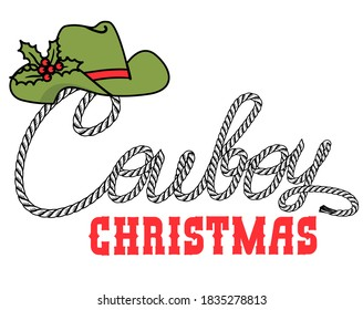 Cowboy Merry Christmas card with Cowboy hat and rope text. Vector illustration isolated on white for design
