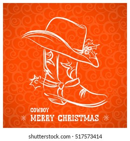Cowboy merry christmas and New Year with cowboy boot and western hat.Vector illustration