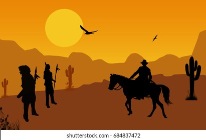 Cowboy and native american indians on wild west at orange sunset, background illustration