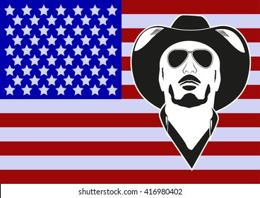 Cowboy on the background of the US flag.