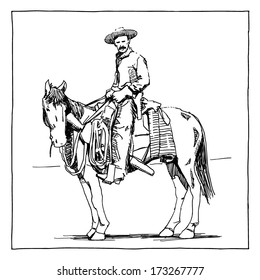 Cowboy on  horse drawing on white background