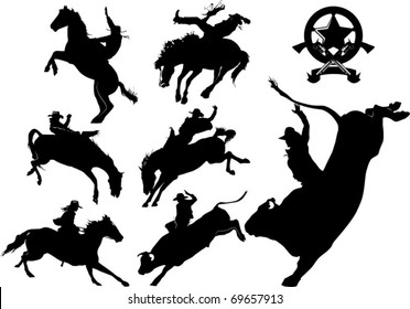 Cowboy on horse silhouettes on a white background