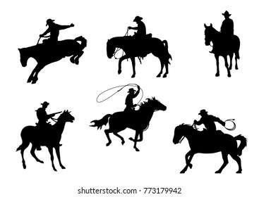Cowboy on horseback. Cowboys icons. Horse.