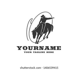Cowboy on horseback in lasso, western and rodeo, logo design. Wild west, ranch, cattle breeding and animal husbandry, vector design and illustration