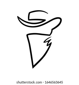 Cowboy outlaw head one line on white backdrop. Design element