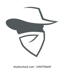 Cowboy outlaw head symbol on white backdrop. Design element