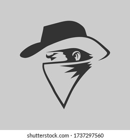 Cowboy outlaw symbol side view on gray backdrop. Design element