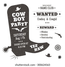 Cowboy party poster or invitation in western style. Cowboy boots silhouette with text. Vector illustration