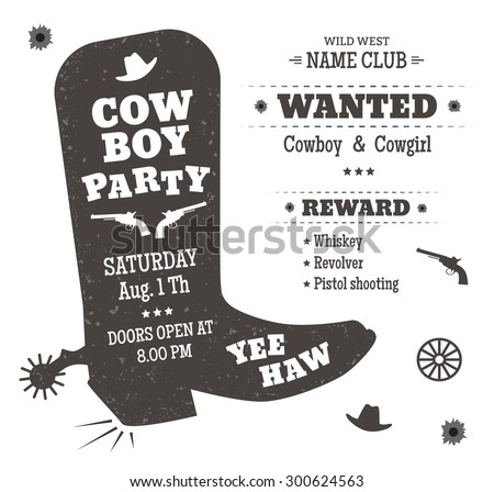 cowboy party poster invitation western style のベクター画像素材