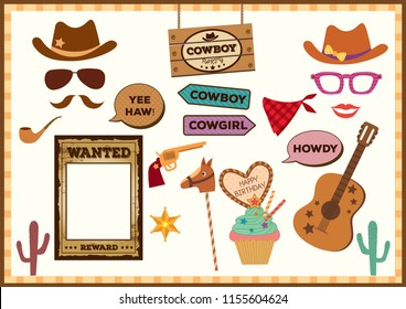 Cowboy props set for photo booth on party.