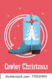 Cowboy red christmas card background with western boot and lasso.
