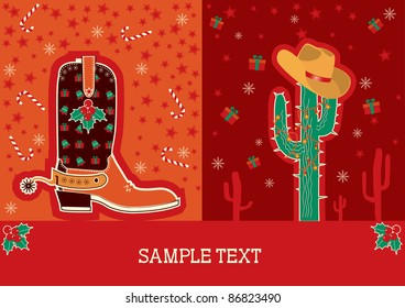 Cowboy red christmas  card with boots and holiday decoration for text