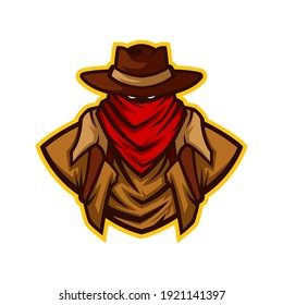 Cowboy with Red Scarf Half Body Vector Mascot