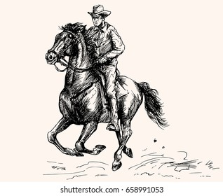 Cowboy ride a horse. Hand drawn illustration.