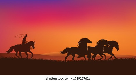 cowboy rider chasing mustang horses herd and throwing lasso - wild west sunset landscape scene vector silhouette design