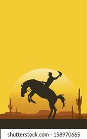 Cowboy riding a bucking bronco at sunset, vector
