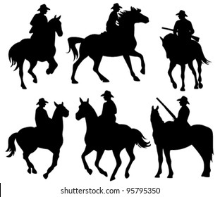cowboy riding a horse - set of black vector silhouettes on white