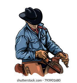 Cowboy riding horse vector illustration. Cartoon man on saddle.