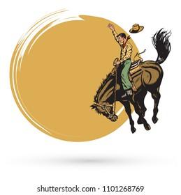 Cowboy riding a wild horse banner
