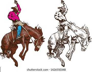 cowboy riding a wild horse mustang rounding a kicking horse on a rodeo graphic sketch sketching graphics